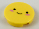 Part No: 14769pb223  Name: Tile, Round 2 x 2 with Bottom Stud Holder with Black Eyes and Small Smile, Dark Pink Blush Pattern