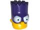 Part No: 15523pb03  Name: Minifigure, Head Modified Simpsons Bart Simpson with Dark Purple Mask Pattern