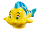 Part No: 15679pb01  Name: Fish, The Little Mermaid with Blue Stripes, Lime Eyes and Medium Azure Dorsal and Tail Fins Pattern (Flounder / Fabius)