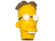 Part No: 19913pb01  Name: Minifigure, Head Modified Simpsons Professor Frink with Glasses and Dark Tan Hair Pattern