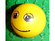 Part No: 23065pb01  Name: Duplo Ball for Ball Tube with Smile and Black and White Eyes with Eyelids Pattern