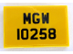 Part No: 26603pb038  Name: Tile 2 x 3 with Black 'MGW 10258' License Plate on Yellow Background Pattern (Sticker) - Set 10258