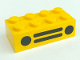 Part No: 3001pb019  Name: Brick 2 x 4 with Car Grille (2 Circles, 2 Lines) Black Pattern
