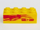 Part No: 3001pb104L  Name: Brick 2 x 4 with Light Purple Flames and 'NITRO' on Yellow Background Pattern Model Left Side (Sticker) - Set 8666