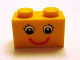 Part No: 3004pb086  Name: Brick 1 x 2 with Eyes with Eyelashes and Red Smile Pattern