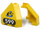 Part No: 30079pb02  Name: Panel 3 x 3 x 3 Corner Convex (Divers) with Yellow Submarine on Blue Triangle and Number 599 Pattern (Stickers) - Set 6599