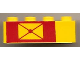 Part No: 3010pb027  Name: Brick 1 x 4 with Envelope on Red Background Pattern, Left Side