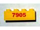 Part No: 3010pb108  Name: Brick 1 x 4 with Red '7905' Pattern (Sticker) - Set 7905