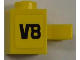 Part No: 30241pb01L  Name: Brick, Modified 1 x 1 with Clip Vertical with 'V8' on Yellow Background Pattern Model Left Side (Sticker) - Set 8186