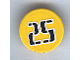 Part No: 30261pb008  Name: Road Sign Clip-on 2 x 2 Round with Black Number 25 in White Outline Pattern (Sticker) - Set 3424