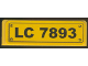 Part No: 30413pb009  Name: Panel 1 x 4 x 1 with Black 'LC 7893' and 4 Screws Pattern (Sticker) - Set 7893