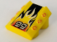 Part No: 30603pb10  Name: Brick, Modified 2 x 2 No Studs, Sloped with 3 Side Pistons Raised and '99', Black Stripe, Flame Pattern