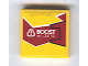 Part No: 3068bpb0359R  Name: Tile 2 x 2 with Groove with 'BOOST - VOLATILE' on Dark Red and Yellow Background with Black Outline on Right Pattern (Sticker) - Set 8113