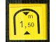 Part No: 3068bpb0869  Name: Tile 2 x 2 with Groove with Black Triangles and '1,50 m' Tunnel Low Clearance Warning Pattern (Sticker) - Set 8364