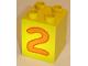 Part No: 31110pb022  Name: Duplo, Brick 2 x 2 x 2 with Number 2 Orange Pattern
