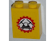 Part No: 3245cpb014  Name: Brick 1 x 2 x 2 with Inside Stud Holder with Miners Logo (Helmet with Crossed Pickaxes in Gear) on Clear Background Pattern (Sticker) - Set 4203