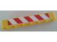 Part No: 32524pb026L  Name: Technic, Liftarm 1 x 7 Thick with Red and White Danger Stripes Pattern Model Left Side (Sticker) - Set 8053