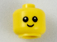 Part No: 33464pb01  Name: Minifigure, Baby / Toddler Head with Neck, Black Eyes, White Pupils and Smile Pattern