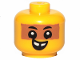 Part No: 33464pb04  Name: Minifigure, Baby / Toddler Head with Neck, Black Eyes, White Pupils, Medium Dark Flesh Band and Smile with Teeth Pattern