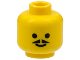 Part No: 3626bp03  Name: Minifigure, Head Moustache Pointed with Standard Grin Pattern - Blocked Open Stud