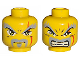 Part No: 3626bpb0070  Name: Minifigure, Head Dual Sided Exo-Force Dark Gray Moustache, Eyebrows, Thin Scar and Closed Mouth / Bared Teeth Pattern (Keiken) - Blocked Open Stud