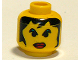 Part No: 3626bpb0109  Name: Minifigure, Head Female with Red Lips Large, Green Eyebrows, and Long Hair Pattern - Blocked Open Stud