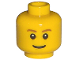 Part No: 3626bpb0121  Name: Minifigure, Head Brown Eyebrows, Thin Grin, Black Eyes with White Pupils Pattern - Blocked Open Stud