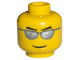 Part No: 3626bpb0193  Name: Minifig, Head Glasses with Silver Sunglasses, Eyebrows and Thin Grin Pattern - Blocked Open Stud