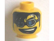 Part No: 3626bpb0240  Name: Minifigure, Head Glasses with Blue Glasses, Long Black Bangs and Open Mouth Pattern - Blocked Open Stud
