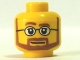 Part No: 3626bpb0267  Name: Minifigure, Head Beard Brown Angular with White Pupils and Glasses Pattern - Blocked Open Stud