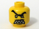 Part No: 3626bpb0294  Name: Minifigure, Head Male Angry Black Unibrow, Moustache, Pointed Teeth Pattern - Blocked Open Stud