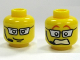 Part No: 3626bpb0303  Name: Minifig, Head Dual Sided Silver Glasses, Headset, Smile / Scared Pattern - Blocked Open Stud