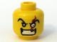 Part No: 3626bpb0305  Name: Minifigure, Head Male Angry Eyebrows and White Left Eye with Red Scar, Evil Grin with Teeth Pattern - Blocked Open Stud