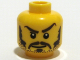 Part No: 3626bpb0319  Name: Minifigure, Head Moustache Brown Long, Sideburns, Stubble, Thick Eyebrows, White Pupils Pattern - Blocked Open Stud