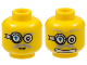 Part No: 3626bpb0355  Name: Minifig, Head Dual Sided Power Miner Glasses with Blue Arrow, Mouth Closed / Mouth with Teeth Pattern - Blocked Open Stud