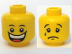 Part No: 3626bpb0368  Name: Minifigure, Head Dual Sided Huge Grin, White Pupils, Eyebrows / Sad with Tear, Convex Eyebrows Pattern - Blocked Open Stud