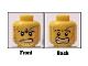 Part No: 3626bpb0372  Name: Minifigure, Head Dual Sided Power Miner Beard Stubble, Gray Smudge, Orange Scars, Determined / Alarmed Pattern - Blocked Open Stud