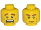 Part No: 3626bpb0396  Name: Minifig, Head Dual Sided Brown Eyebrows, Cheek Lines, Mouth Closed / Mouth Open Scared Pattern - Blocked Open Stud
