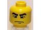 Part No: 3626bpb0429  Name: Minifigure, Head Male Black Eyebrows with Crow's Feet Wrinkles and White Pupils Pattern - Blocked Open Stud