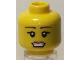 Part No: 3626bpb0439  Name: Minifigure, Head Female with Black Eyes, Eyelashes, Thin Brown Eyebrows and Pale Pink Lips with Open Mouth Pattern - Blocked Open Stud