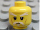 Part No: 3626bpb0522  Name: Minifigure, Head White Moustache, Goatee and Eyebrows, Brown Forehead and Cheek Lines, Neutral Pattern - Blocked Open Stud