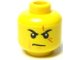 Part No: 3626bpb0526  Name: Minifigure, Head Male Stern Black Eyebrows, White Pupils, Frown, Scar Across Left Eye, Chin Dimple Pattern - Blocked Open Stud