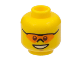Part No: 3626bpb0641  Name: Minifigure, Head Glasses with Orange Sunglasses with Nose Piece, Open Mouth Smile, Chin Dimple Pattern - Blocked Open Stud