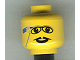 Part No: 3626bpx107  Name: Minifigure, Head Glasses with Pencil Behind Ear, and Pointed Moustache Pattern - Blocked Open Stud