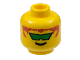 Part No: 3626bpx114  Name: Minifigure, Head Glasses with Green Angled Sunglasses and Brown Hair Pattern - Blocked Open Stud