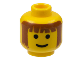 Part No: 3626bpx12  Name: Minifigure, Head Male Brown Bangs and Long Brown Hair Pattern - Blocked Open Stud