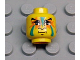Part No: 3626bpx61  Name: Minifigure, Head Face Paint with Green and Orange Painted Face Pattern - Blocked Open Stud