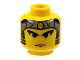 Part No: 3626bpx7  Name: Minifigure, Head Male Gray Bandana with Gold Dot, Eyebrows, Sideburns Pattern - Blocked Open Stud