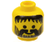 Part No: 3626bpx75  Name: Minifig, Head Beard Vertical Lines with Messy Hair, Moustache Black Pattern - Blocked Open Stud