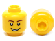 Part No: 3626cpb0405  Name: Minifigure, Head Male Brown Eyebrows, Open Lopsided Grin, White Pupils Pattern - Hollow Stud